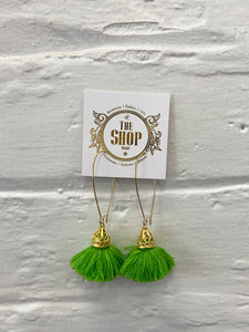 Apple Green Tassel Earring