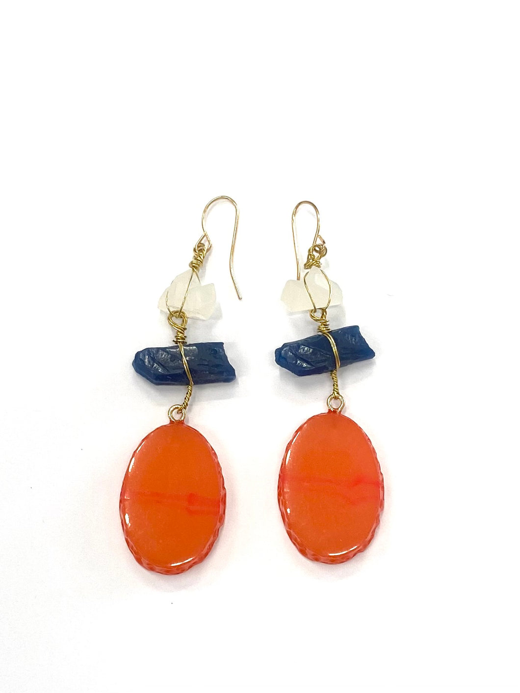 Red Navy Stone Earring