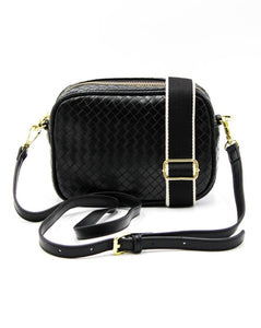 Ruby Woven Cross Body Bag Black