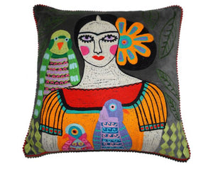 Velvet Frida Cushion Birds