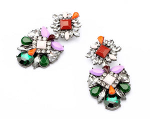 Multi coloured bling earrings
