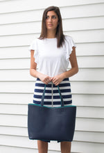 Navy & Green Two Tone Tote