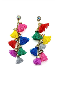 Colourful tassel earrings