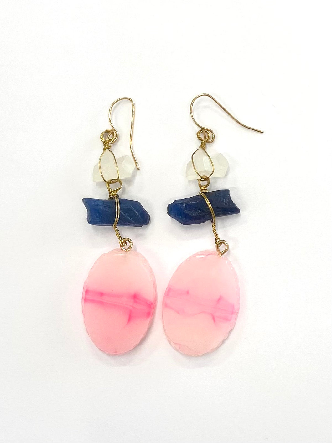 Pink Navy Stone Earring