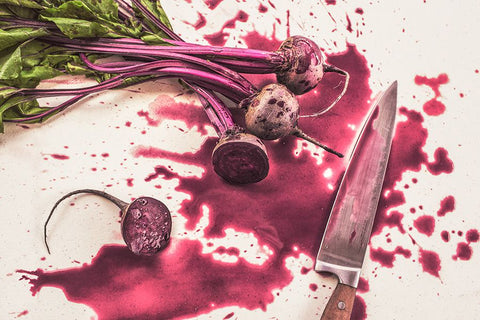Beets cut with a knife