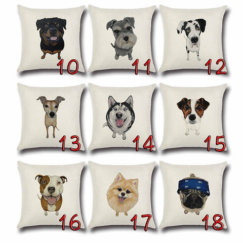 Animal Sketch Dog Cushion Cover