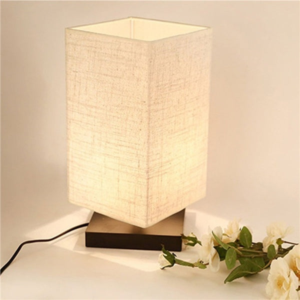 Minimalist Solid Wood and Fabric Shade Lamp