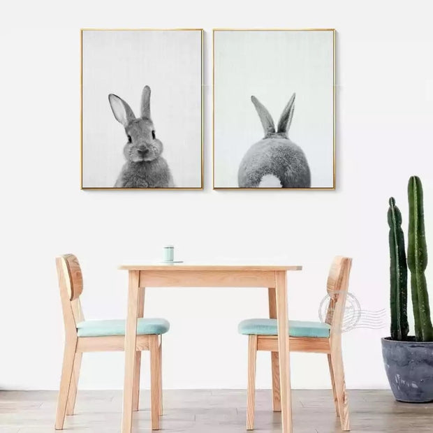 Modern Art Black & White Bunny Canvas