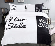 Soft His and Her Side Black White Bedding Set
