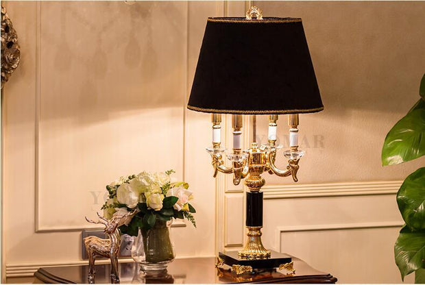 Luxury Engraved Black Crystal Table Lamp