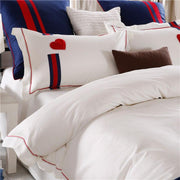 P&B Red heart Embroidered White Bedding Set