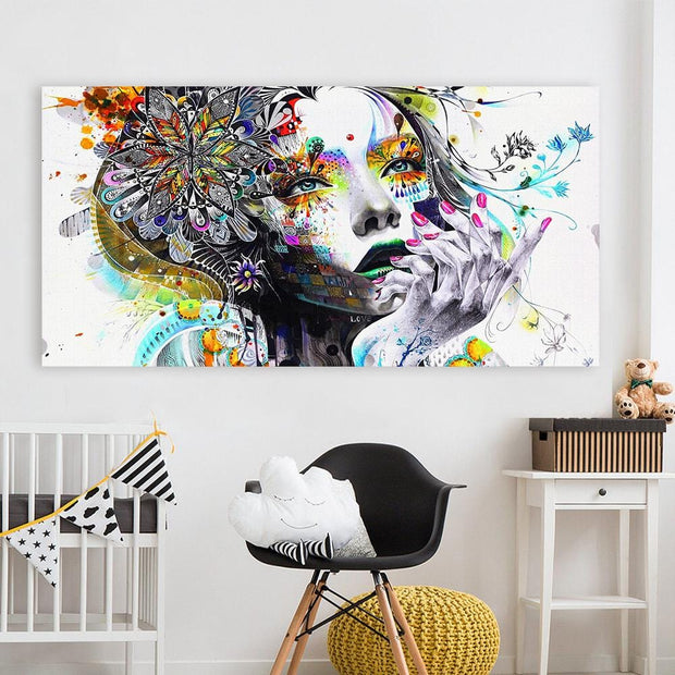 Modern Art Girl With Flowers Wall Canvas