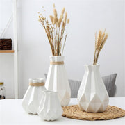 Ceramic Simple Nordic Style Diamond Inspiration Fold Vase