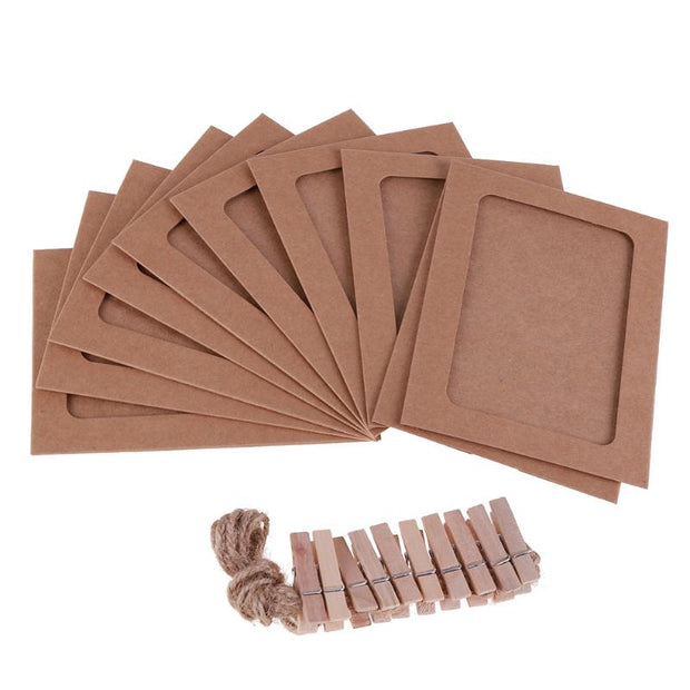 10 Pcs Paper Frames with Clips and 2M Rope