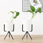 3pcs Ceramic Flower Planters with Iron Shelf Succulent Plant Pot