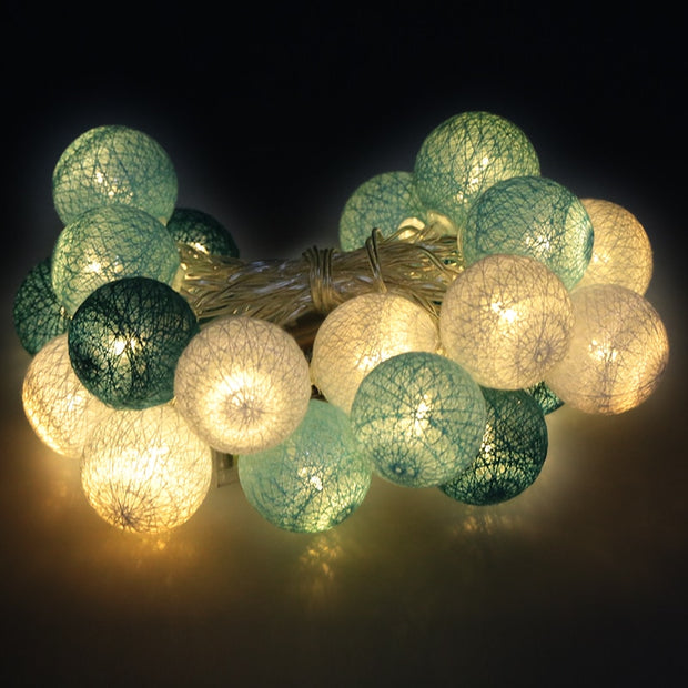 Led Cotton Ball String Fairy Lights