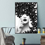 Black & White Butterfly Woman Wall Art Canvas