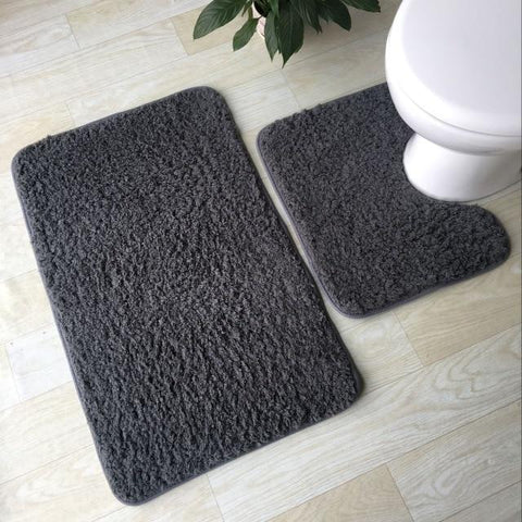 2/Pc Plush Absorbent Bathroom Anti-skid Mat Set