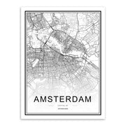 Black and White Nordic Style City Canvas