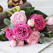 2018 Beautiful Small Bouquet Rose Peony Artificial Silk Flowers