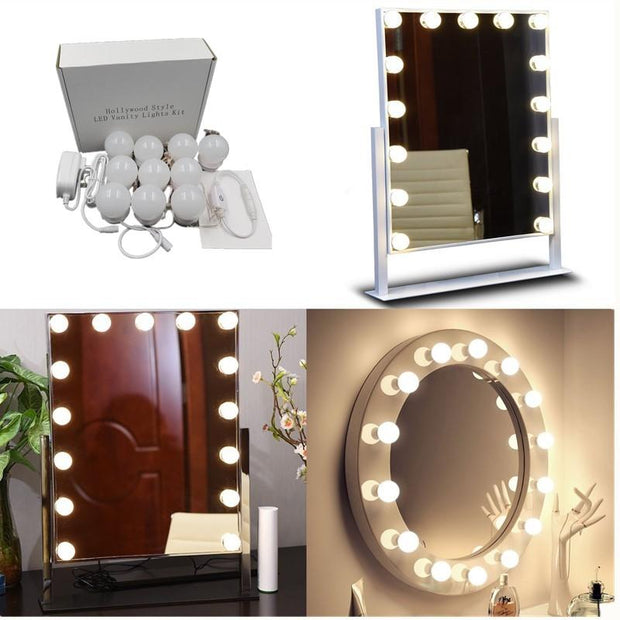 Mirror Light Bulbs Kit With Dimmer & Power Supply Plug