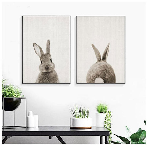 Black White Baby Animal Rabbit Tail Canvas Art Print