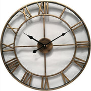 3D Circular Retro Roman Wrought Hollow Iron Vintage Wall Clock