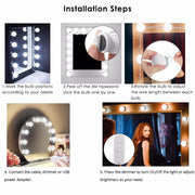 Hollywood Style LED Vanity Lights Kit with 10 Dimmer-able Waterproof LED Bulbs