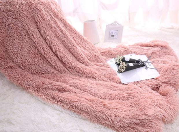 Warm Sherpa Fluffy PV Plush Super Soft Shaggy Fuzzy Faux Fur Blanket