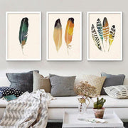 Minimalism Feather Leaves Abstract Painting Frame-less Poster