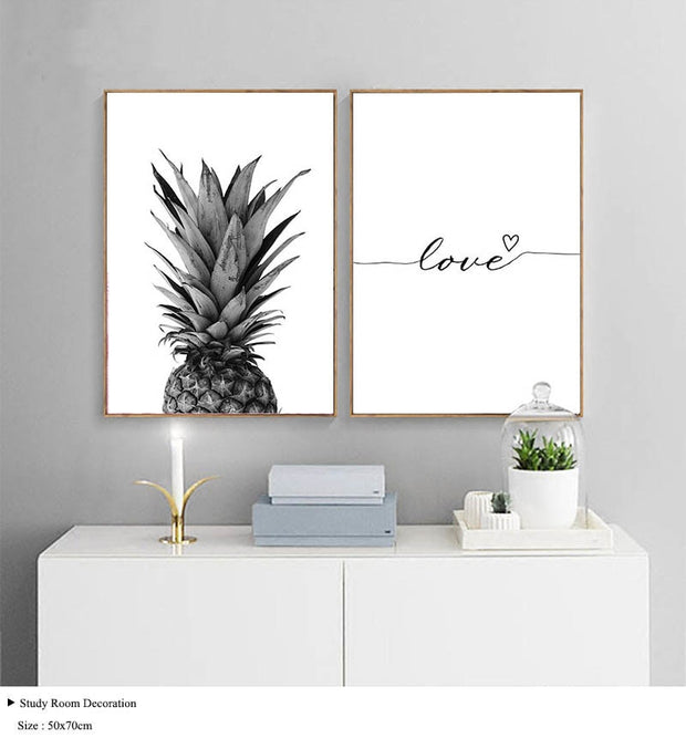 Love & Pineapple Black and White Canvas