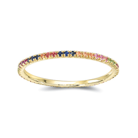 Rainbow Sapphires Eternity Band