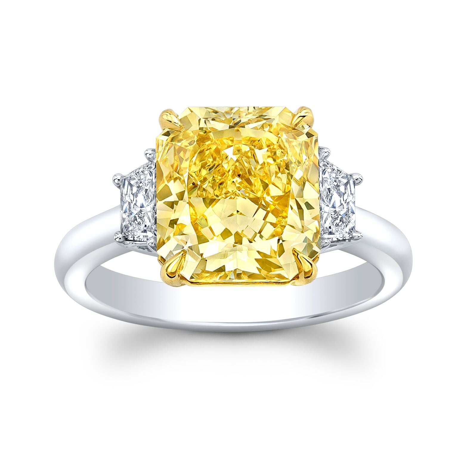 4.16 Ct. Intense Yellow Radiant Cut Diamond Ring
