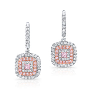 Princess cut Pink Diamond Earrings