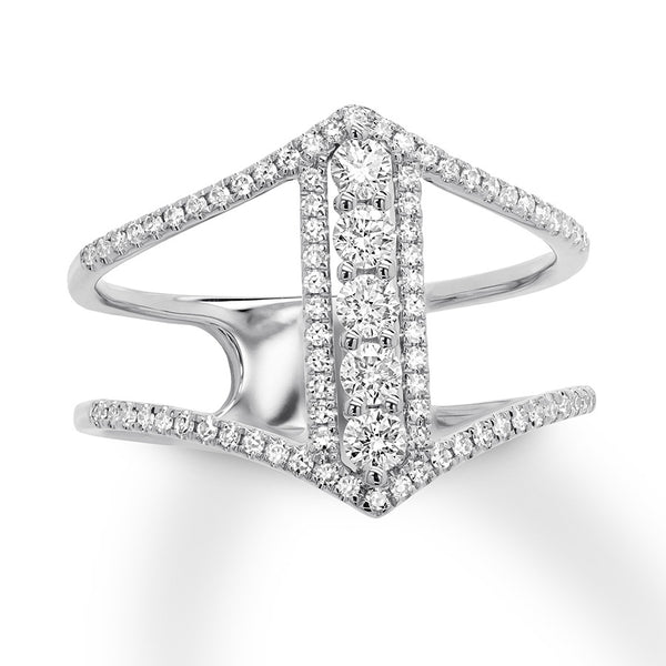 diamonds in a row ring