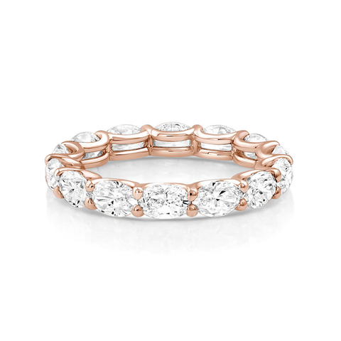 Oval Diamond Eternity Band Rose Gold - Mizrahi Diamonds