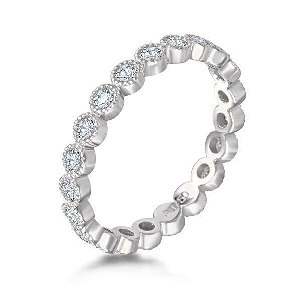 White Gold Milgrain Ring - Mizrahi Beverly Hills