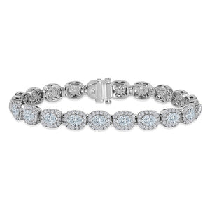 Oval Diamond Bracelet with Halo