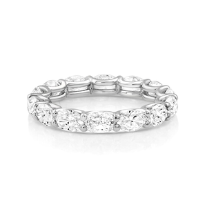 Oval Diamond Eternity Band White Gold - Mizrahi Diamonds