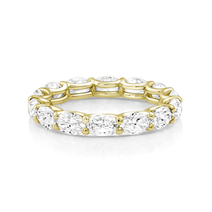 Oval Diamond Eternity Band Yellow Gold - Mizrahi Diamonds