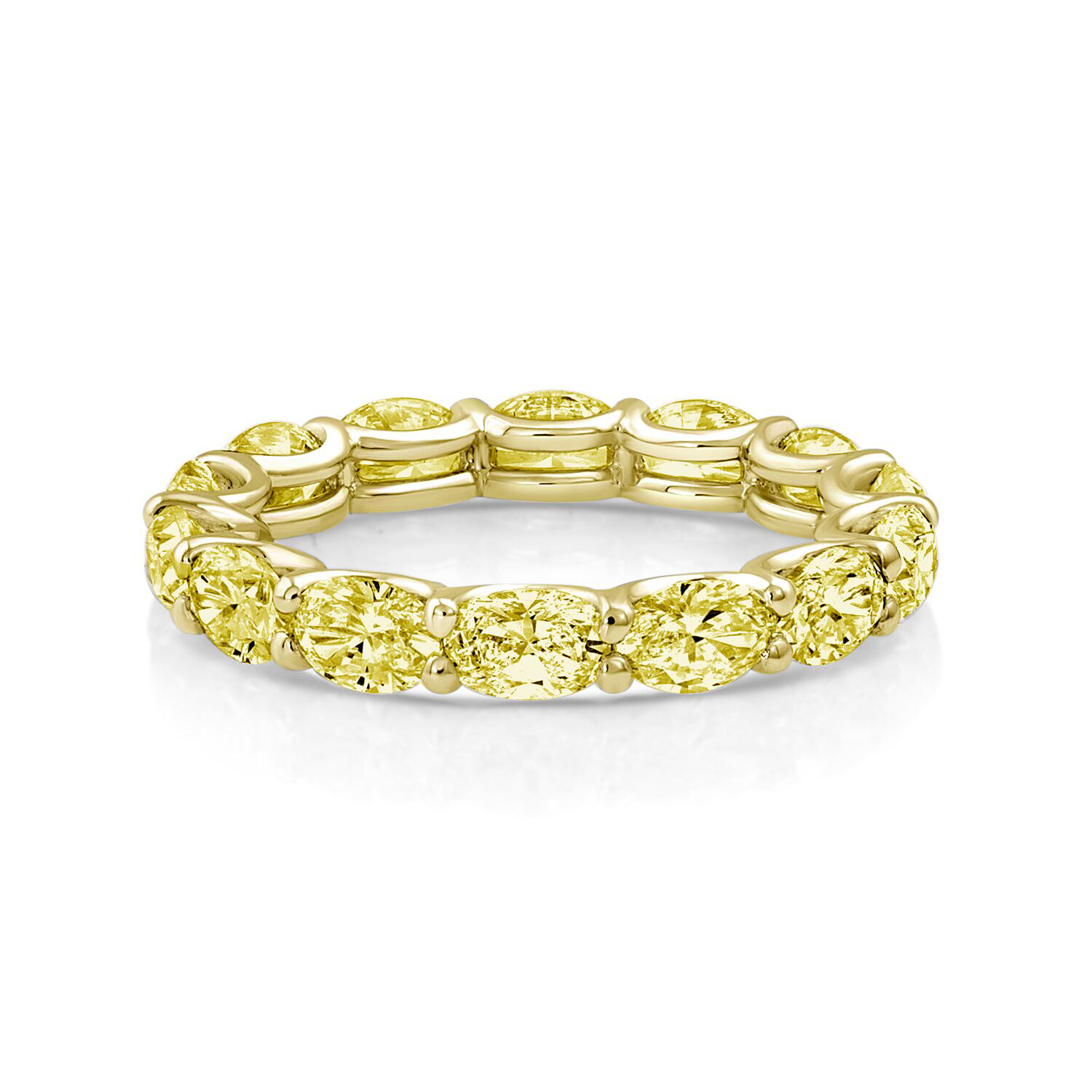 Oval Fancy Yellow Diamond Eternity Band - Mizrahi Diamonds