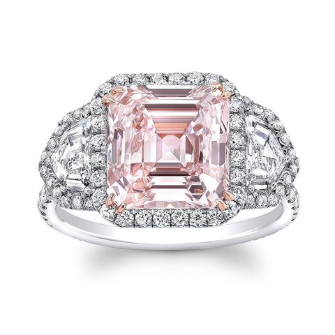 Square Emerald Cut Pink Diamond Ring - Mizrahi Diamonds