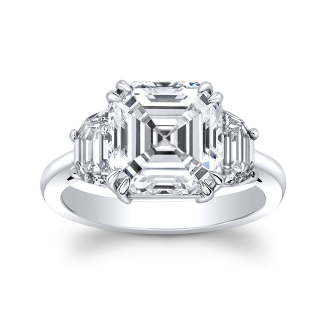 5.34 ct. Royal Assher cut Diamond Ring - Mizrahi Diamonds