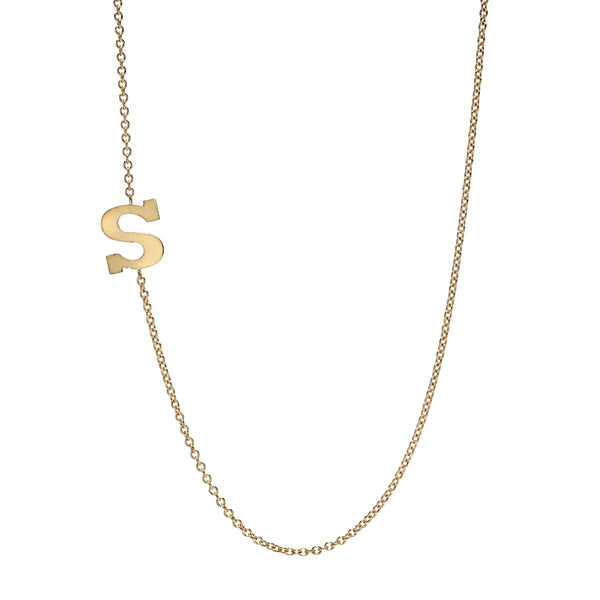 Solid Gold Initial Necklace