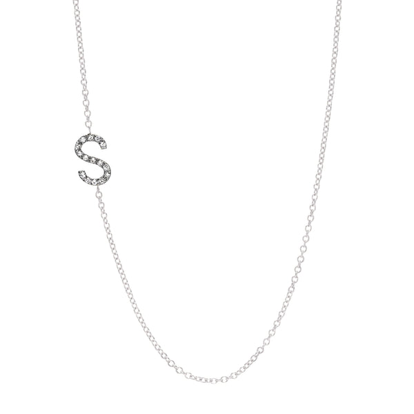 diamond initial necklace pendant white gold