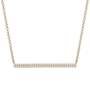 Diamond bar necklace 14k gold