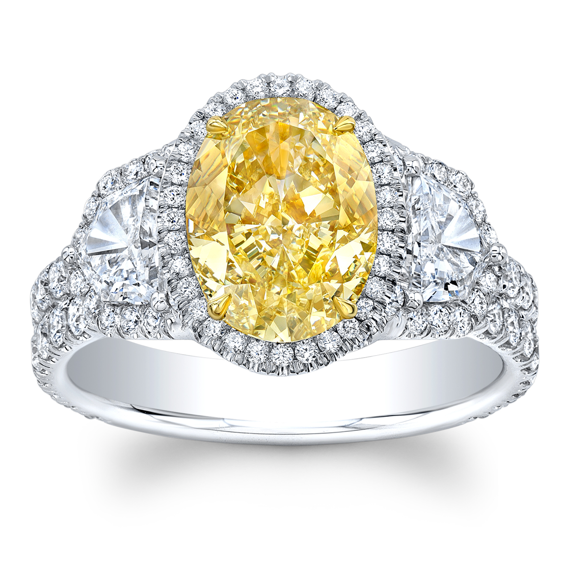 1.32 ct Oval cut Fancy Yellow diamond Ring