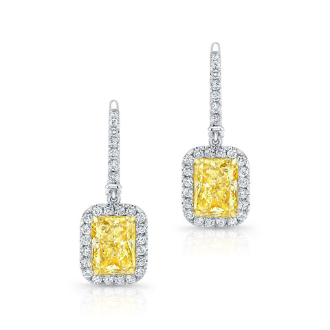 Radiant cut Fancy Yellow Diamond Earrings