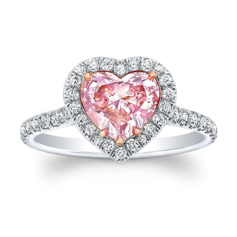 1.05 ct. Heart Shape Fancy Pink Diamond Ring - Mizrahi Diamonds