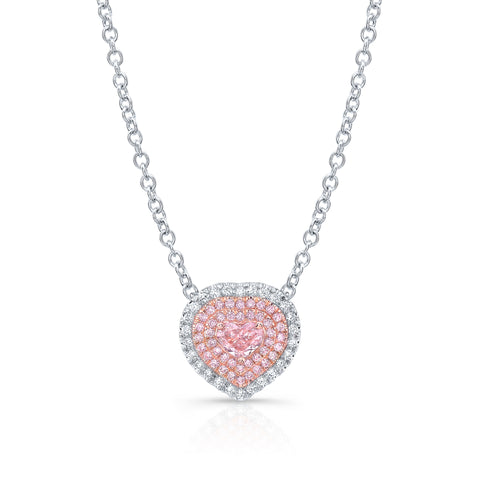 Heart Shape Light Pink Diamond Necklace